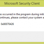 Microsoft security client 0x80070426