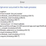Javascript error occurred in the main process
