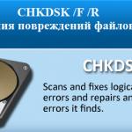 Chkdsk для устранения повреждений файловой системы